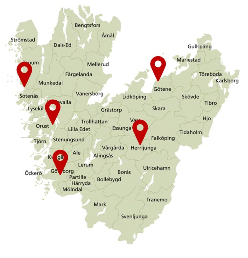 Karta Västra Götalandsregionen med fem kultursystem
