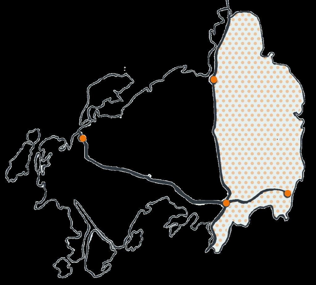 Orustkarta med fokus på östra Orust