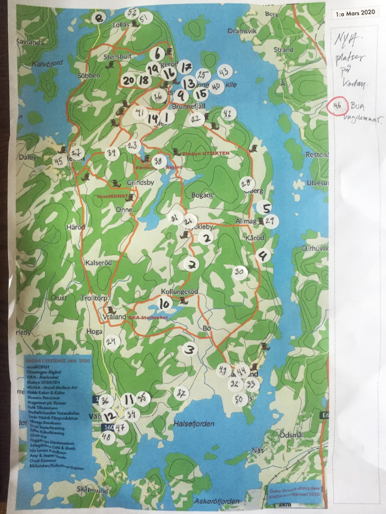 Karta över östra Orust med inprickade kulturaktörer